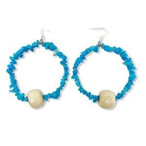 Boho Hoop Earrings Turquoise Beads Bone Handmade